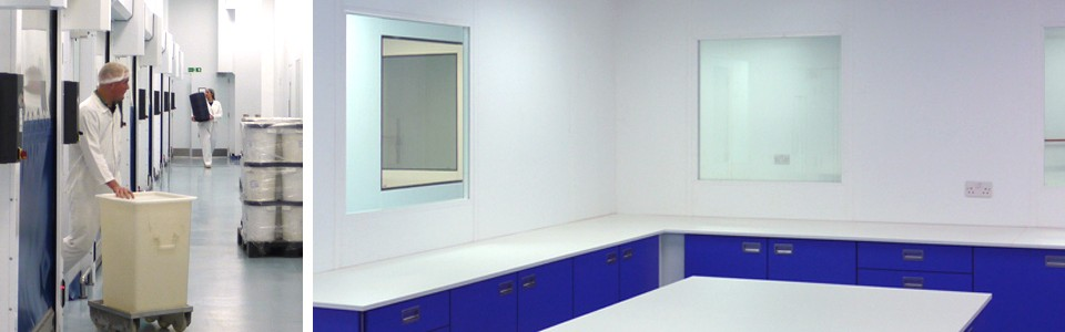 High spec. steel partitioned cleanrooms with air filtration.