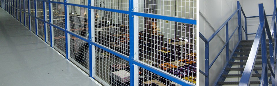 Steel partitions for use in industrial locations providing security and safety.